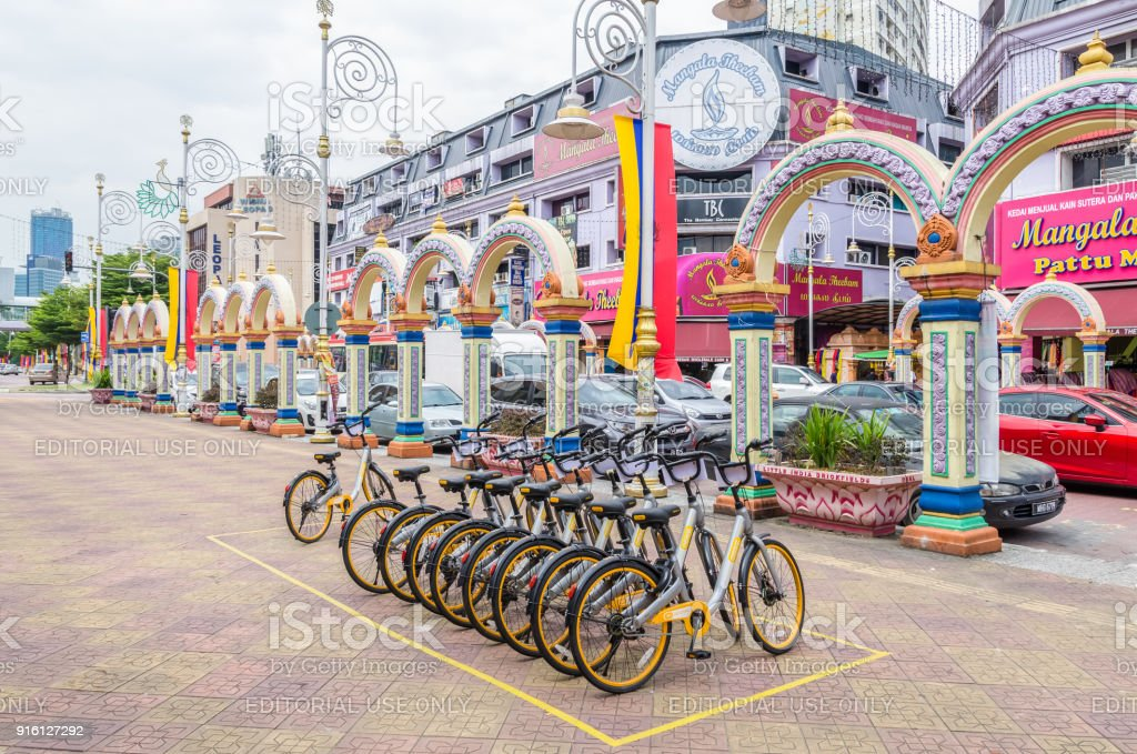 A row of obike are parking in Brickfields Little India in Kuala Lumpur. stock photo