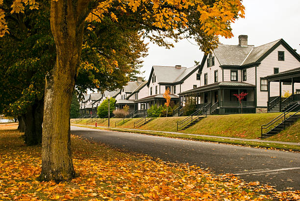 Row of officers' houses at Fort Worden in Port Townsend stock photo