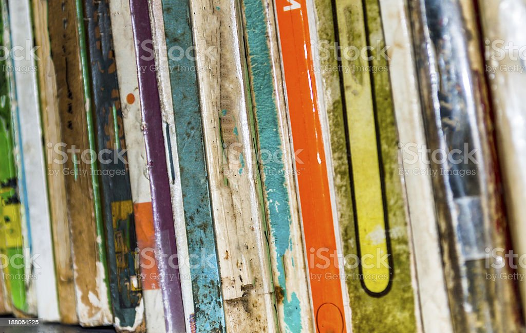 row of old books stock photo