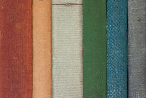 Row of Old Books showing the Spines stock photo