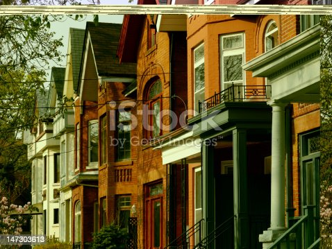 istock Row of old houses 147303613