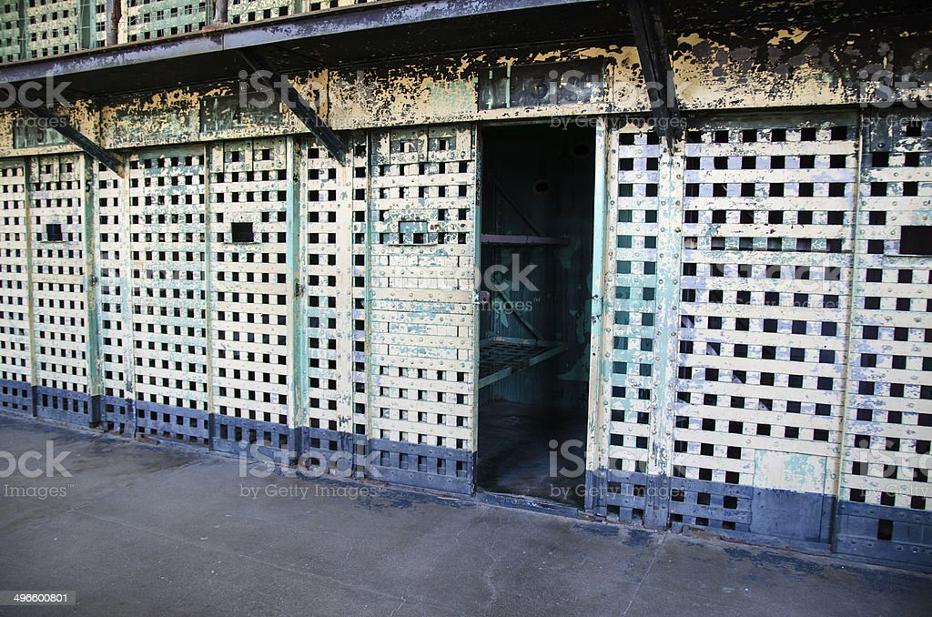 Row of Old Prison Cells royalty-free stock photo