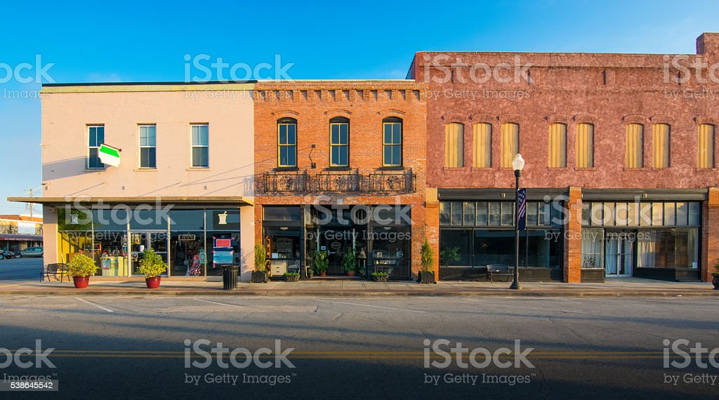 Row of Old Shops in Small Town stock photo