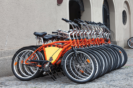 Row Of Orange Bicycles in Münich
