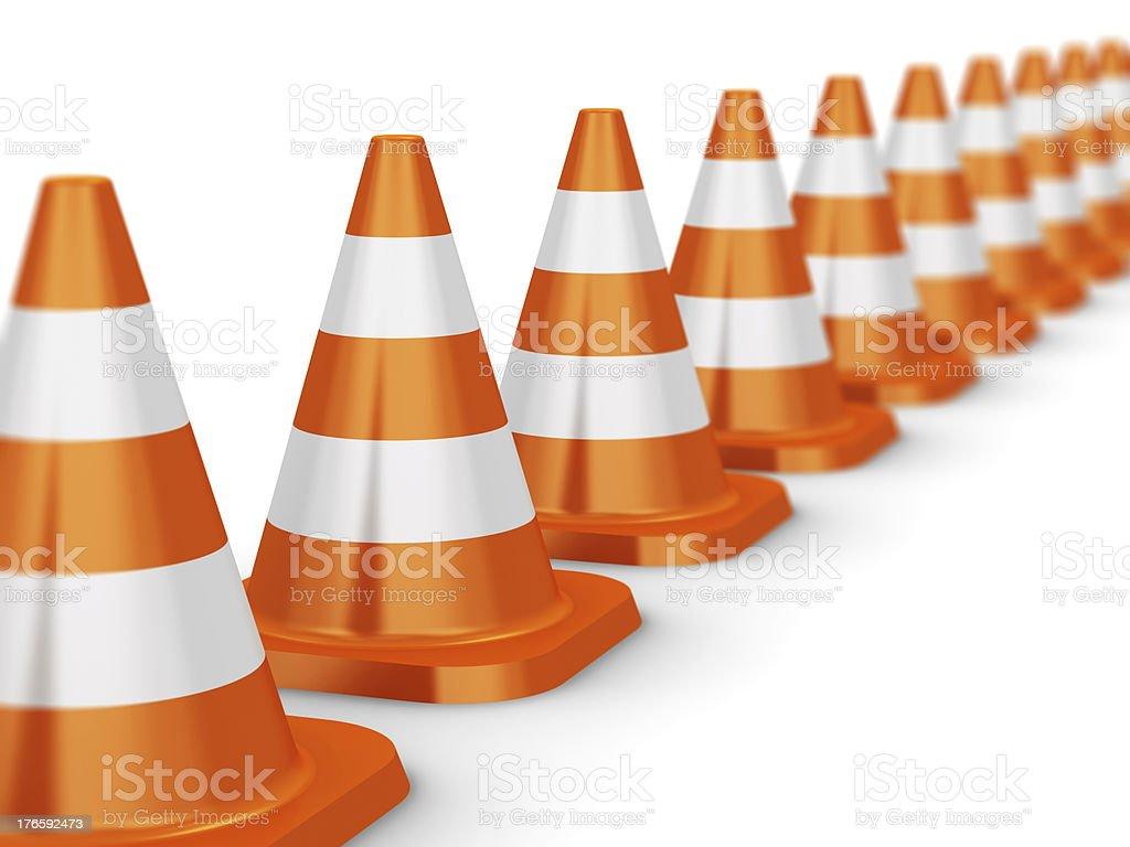 Row of orange traffic cones royalty-free stock photo