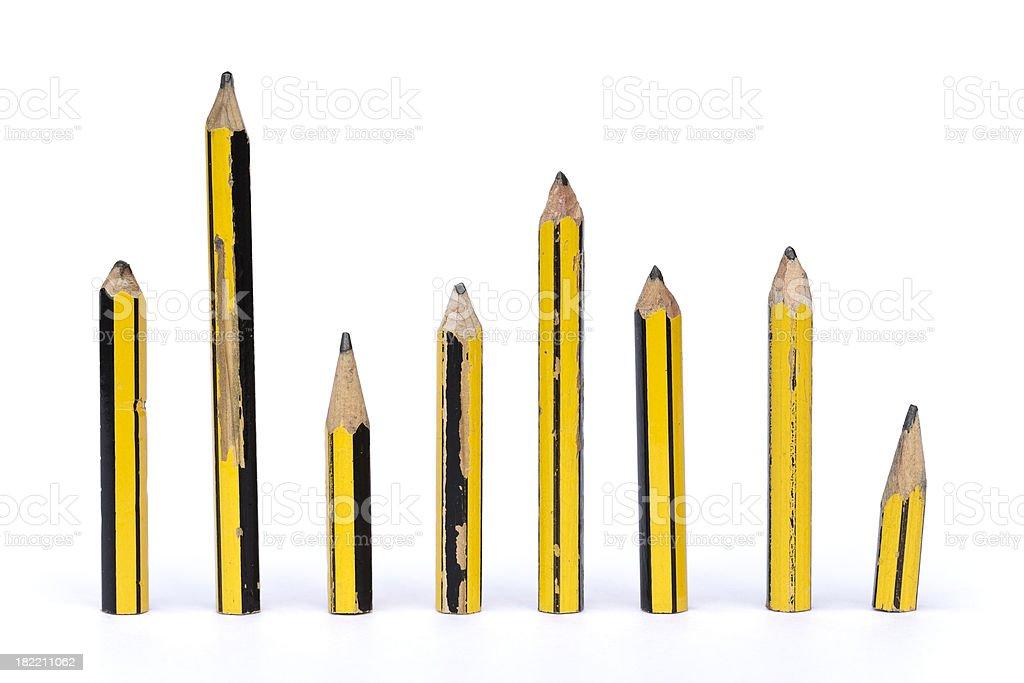 Row of pencils as metaphor for diversity stock photo