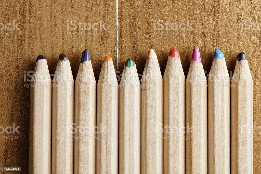 Row of pencils closeup stock photo