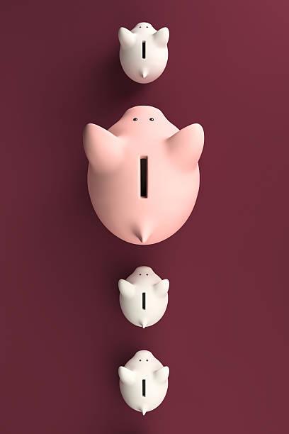 Row of piggy banks stock photo