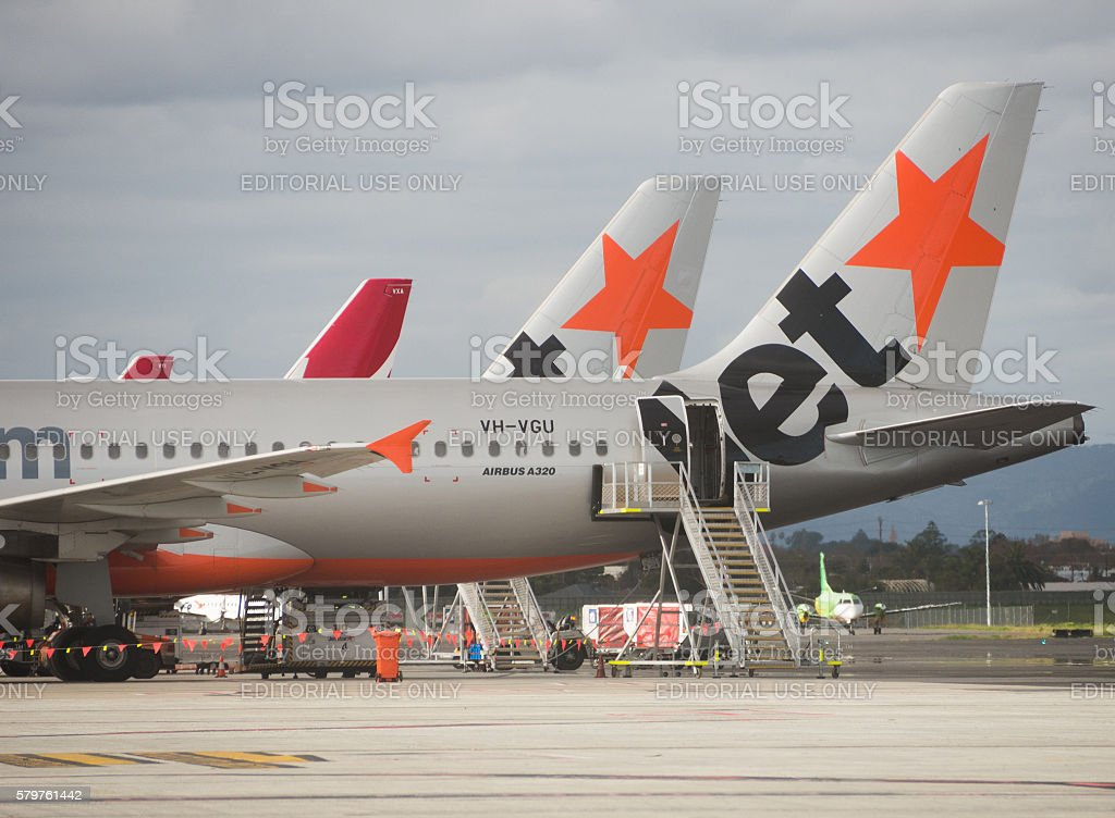 Row of planes at Adelaide Airport stock photo