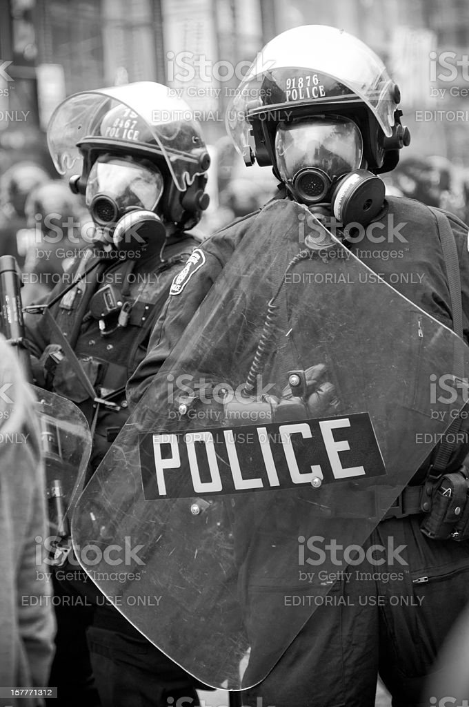 Row of Police Officers stock photo