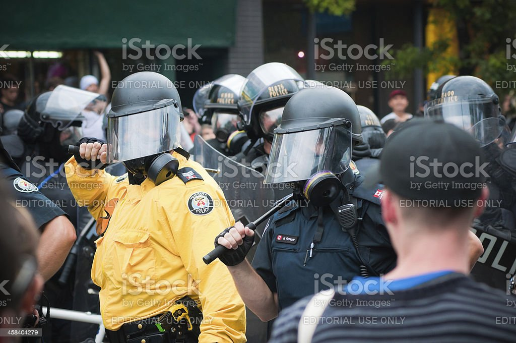 Row of Police Officers royalty-free stock photo