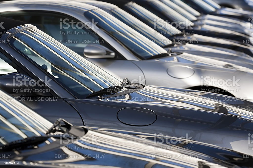 Row of Porsche 911 Sports Coupe Cars royalty-free stock photo