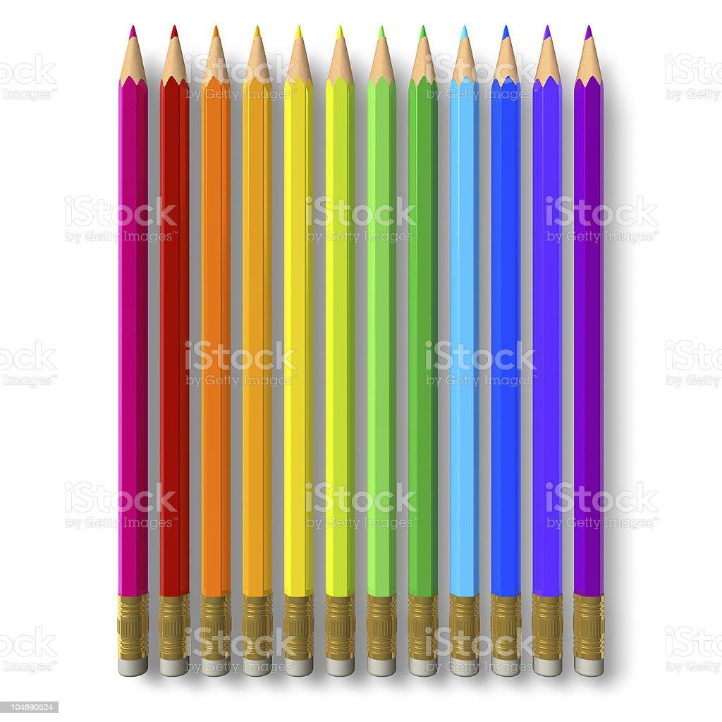 Row of rainbow pencils royalty-free stock photo