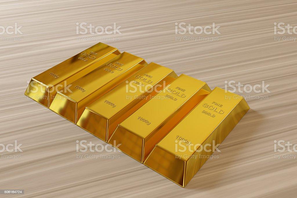row of rendered goldbars stock photo
