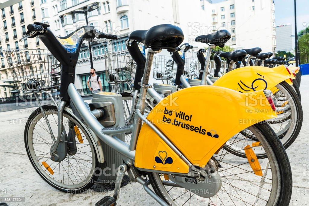 A row of rental bikes in Brussels, Belgium