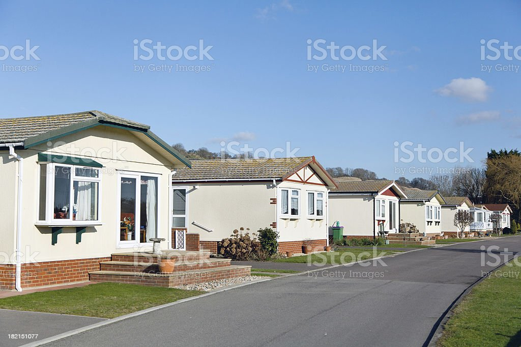 Row of residential mobile park home royalty-free stock photo