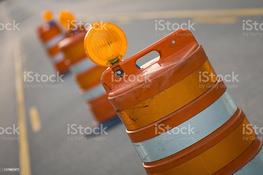 Row of Road Construction Barrels stock photo