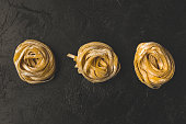 top view of row of rolled pasta