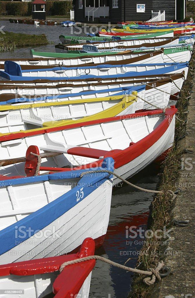 Row of rowing boats royalty-free stock photo
