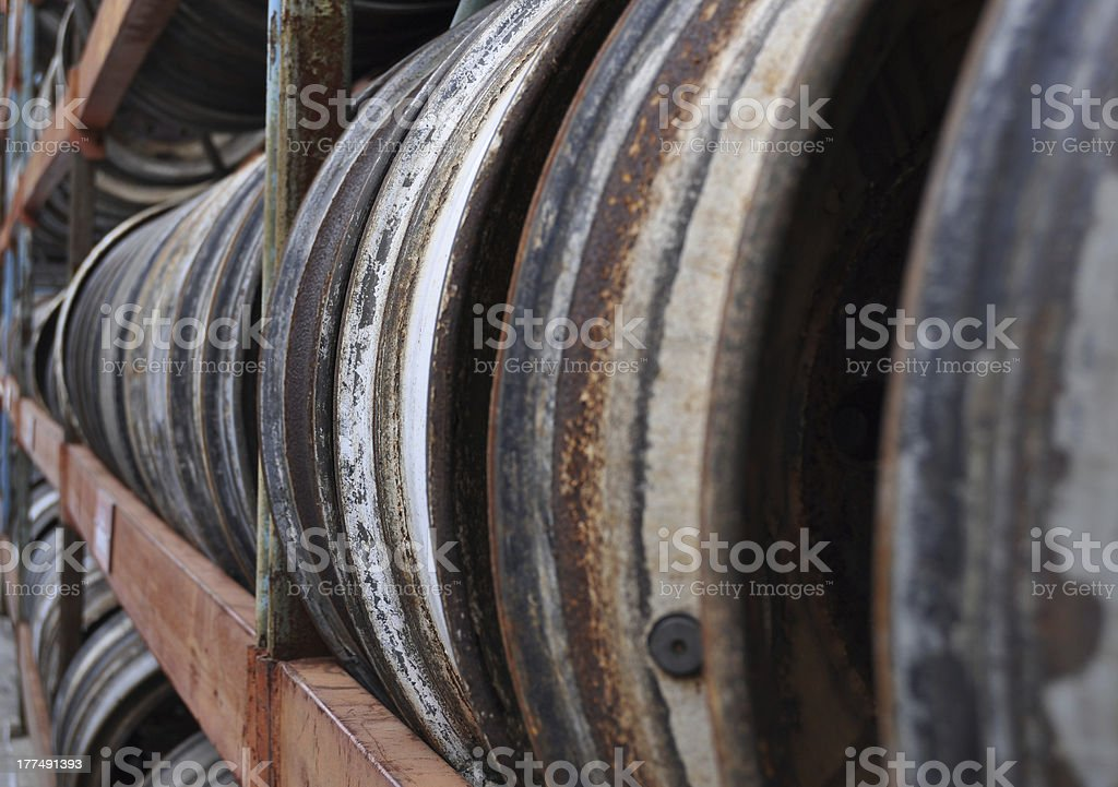 Row of Rusted Wheel Wells royalty-free stock photo