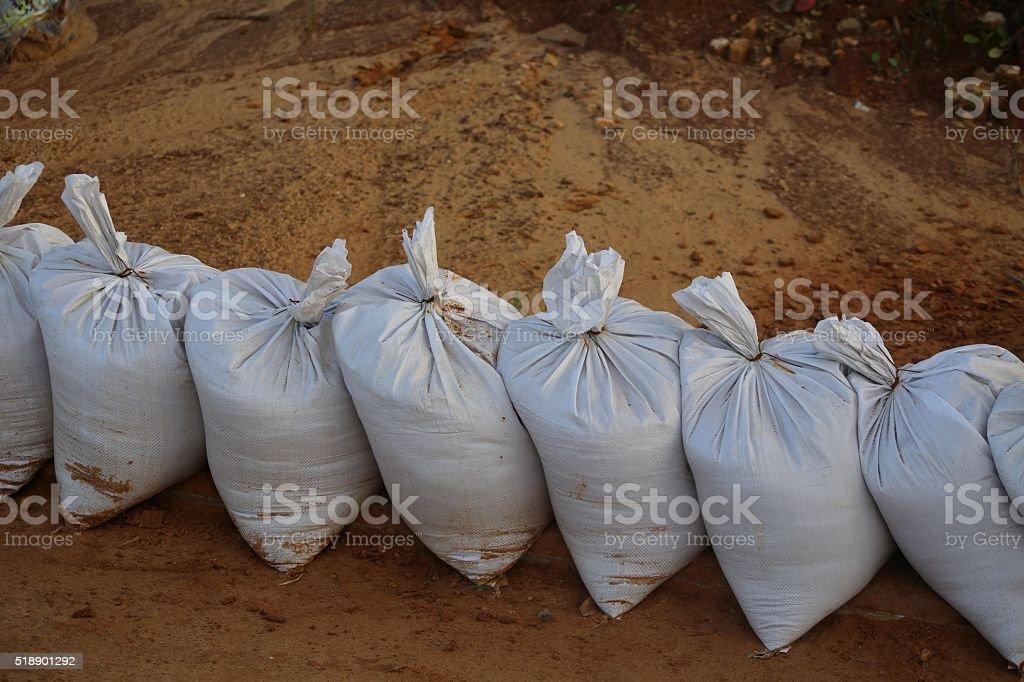 Row of Sandbags stock photo