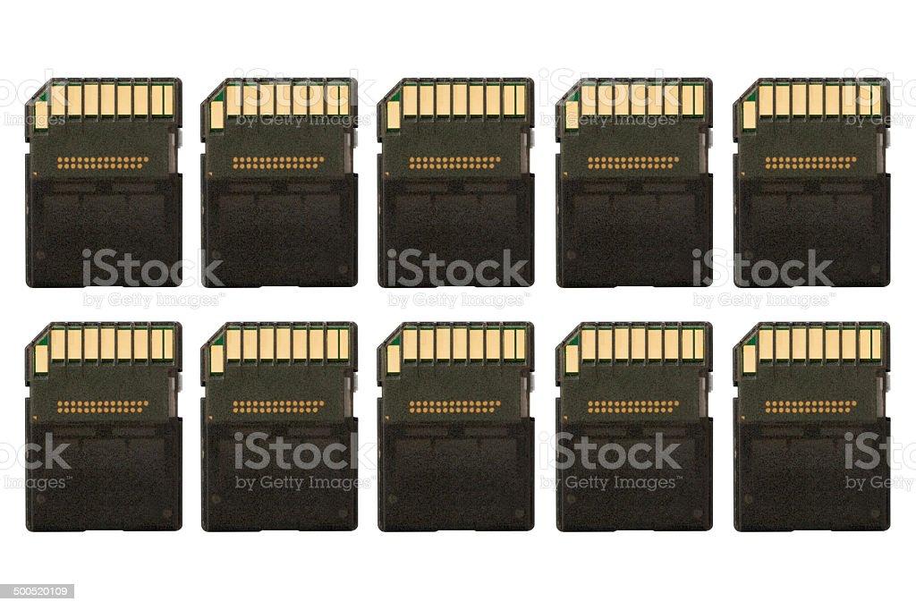 Row of sd memory cards stock photo