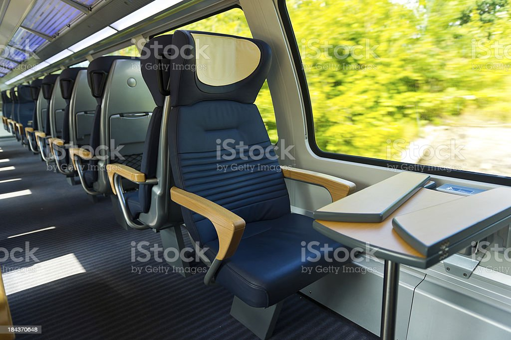 Row of seats in Train stock photo