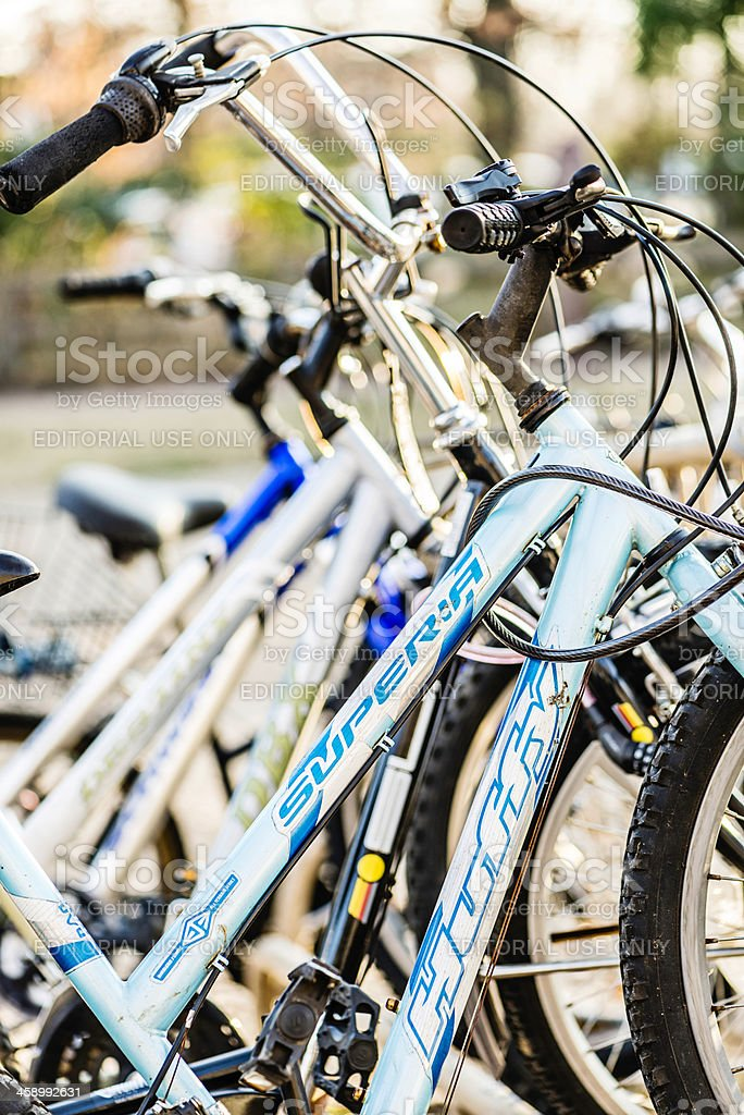 Row of Secured Bicycles stock photo