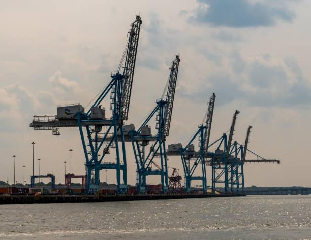 Reihe von Werftkranen – Foto