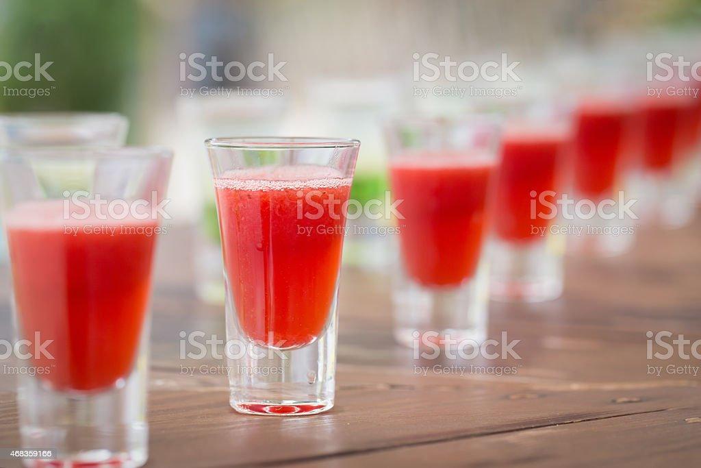 Row of shot drinks royalty-free stock photo