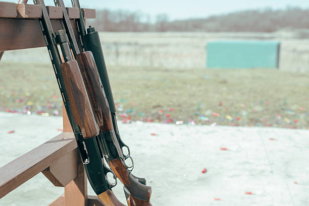 row of shotgun rifles on rack at shooting range stock photo