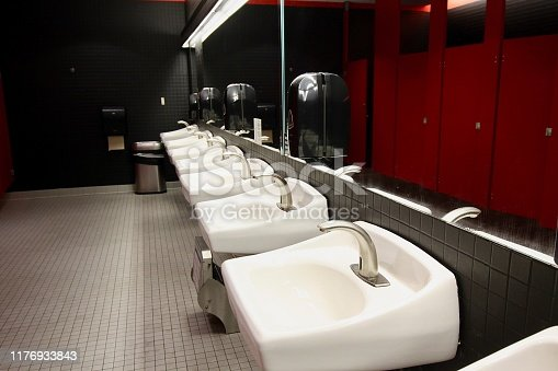 View of a row of sinks in a restroom