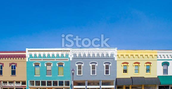 A row of brick facades in small town America.