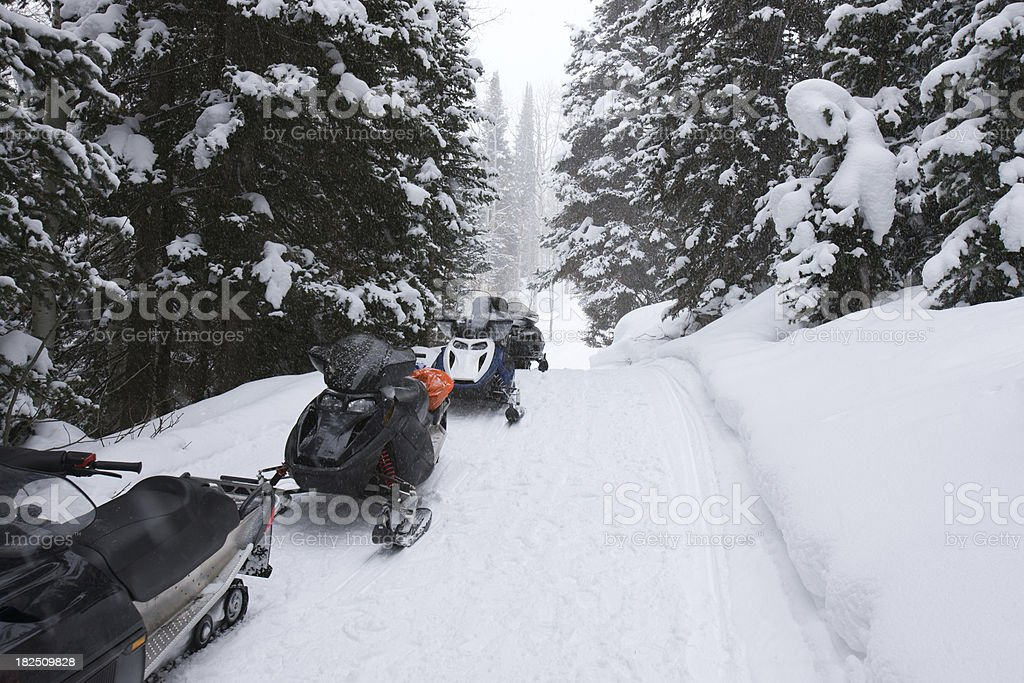Row of snowmobiles in winter wonderland. royalty-free stock photo