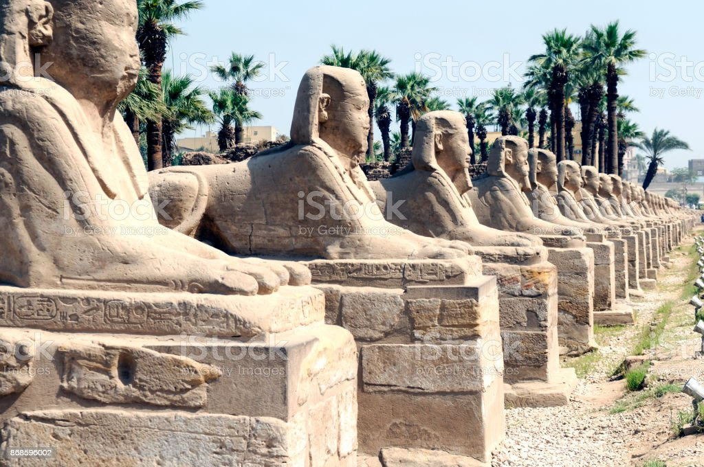 Row of Sphinxes at the Karnak Temple Complex in Egypt stock photo