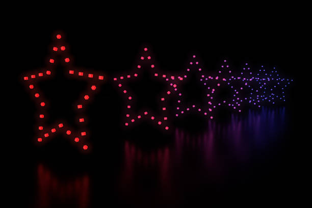 Row of stars LED light stock photo