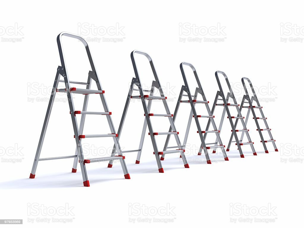 3D row of ster-ladder royalty-free stock photo