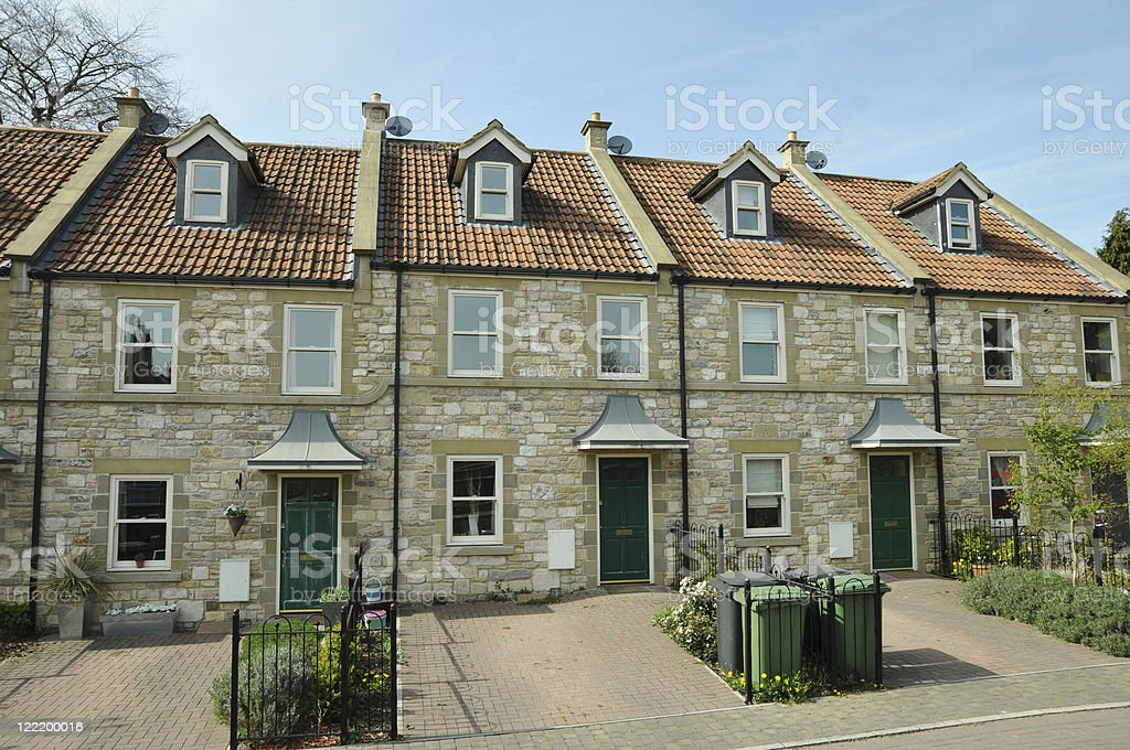 Row of Stone Cottages stock photo