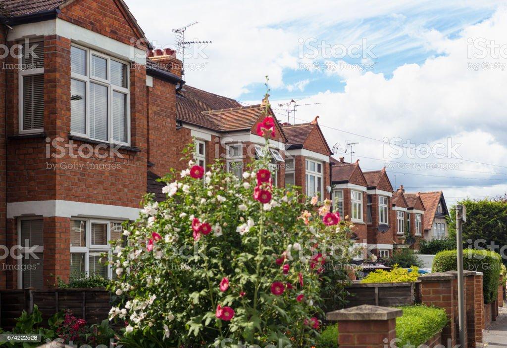 Row of suburban houses near London stock photo