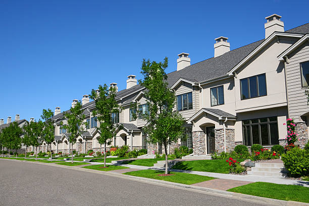 Row of Suburban Townhouses stock photo