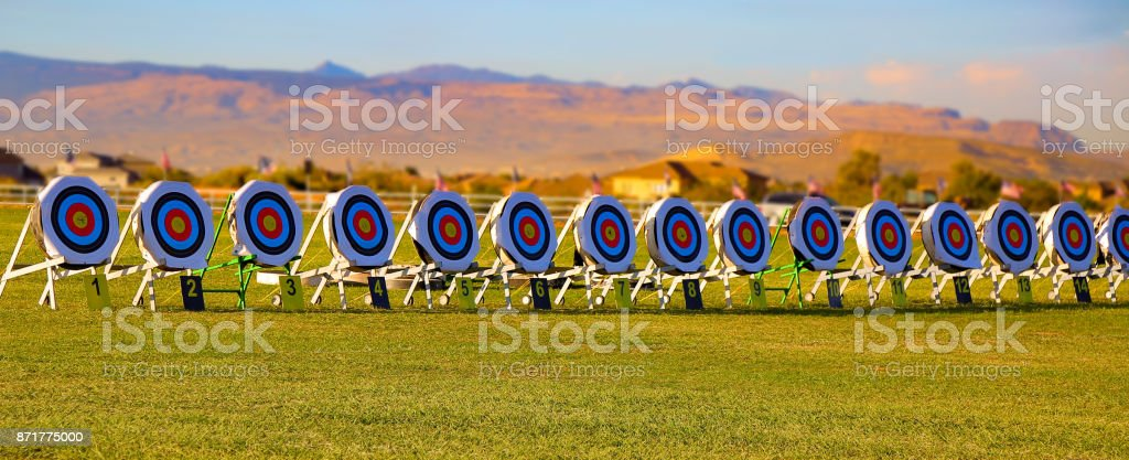 row of targets in a competition stock photo
