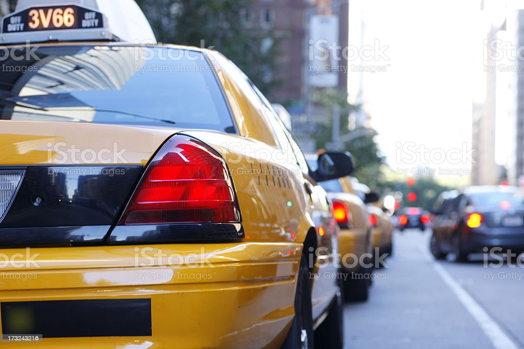 Row of taxis waiting for passengers in New York City stock photo