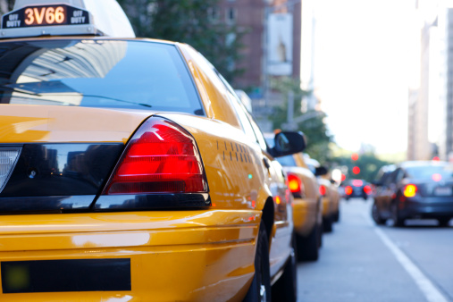 Row Of Taxis Waiting For Passengers In New York City Stock Photo - Download Image Now