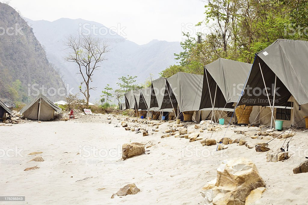 Row of Tents ready for Camping at Rishikesh in Himalayas stock photo