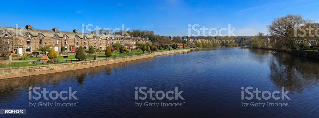 Row of terraced houses by the River Wharfe in Otley near Leeds stock photo