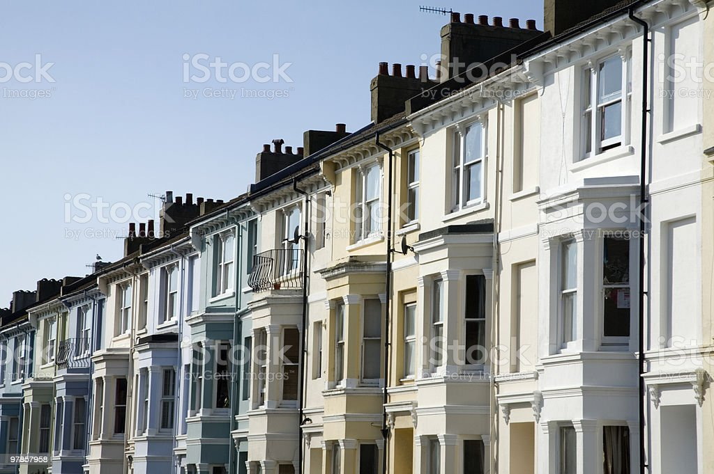 Row of terraced houses in Brighton, UK royalty-free stock photo