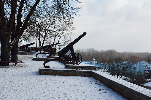 istock Row of the cannons in Chernihiv, Ukraine 497064696