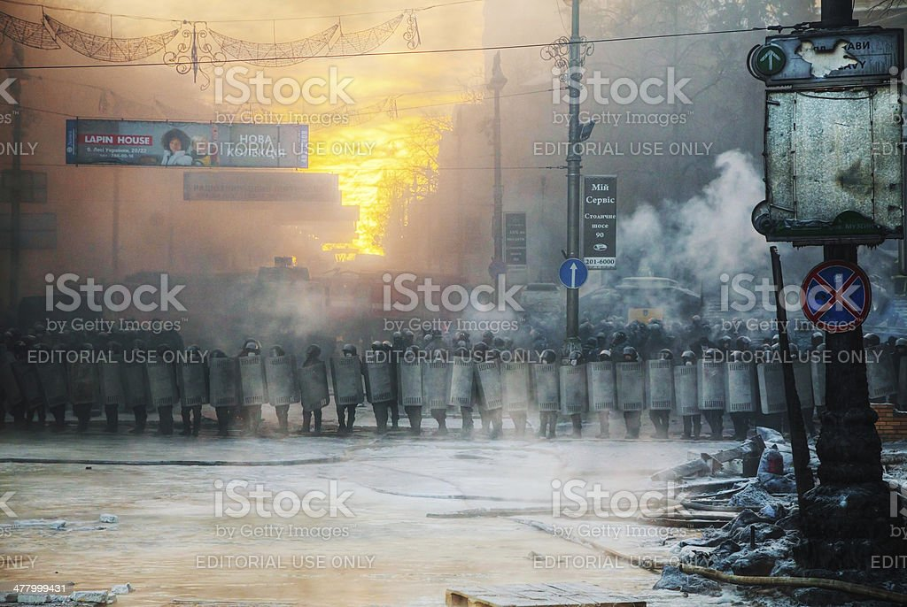 Row of the riot police at Hrushevskogo street in Kiev stock photo