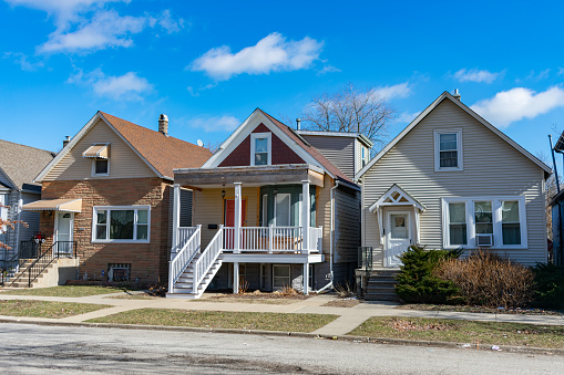 A Row of Three Wood Homes in Logan Square Chicago