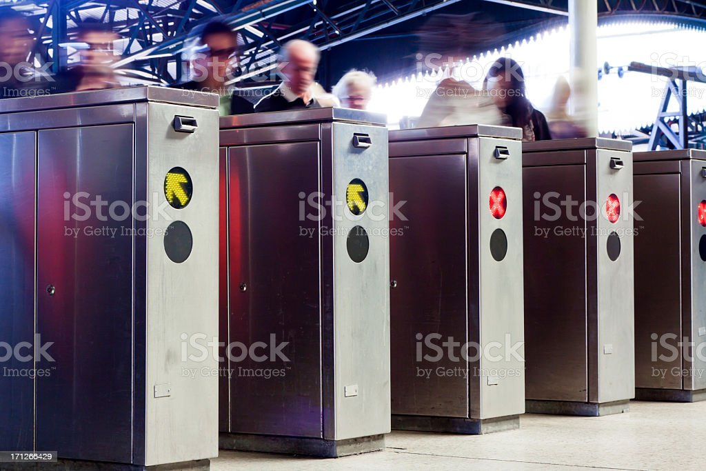 Row of ticket machines in railway station stock photo